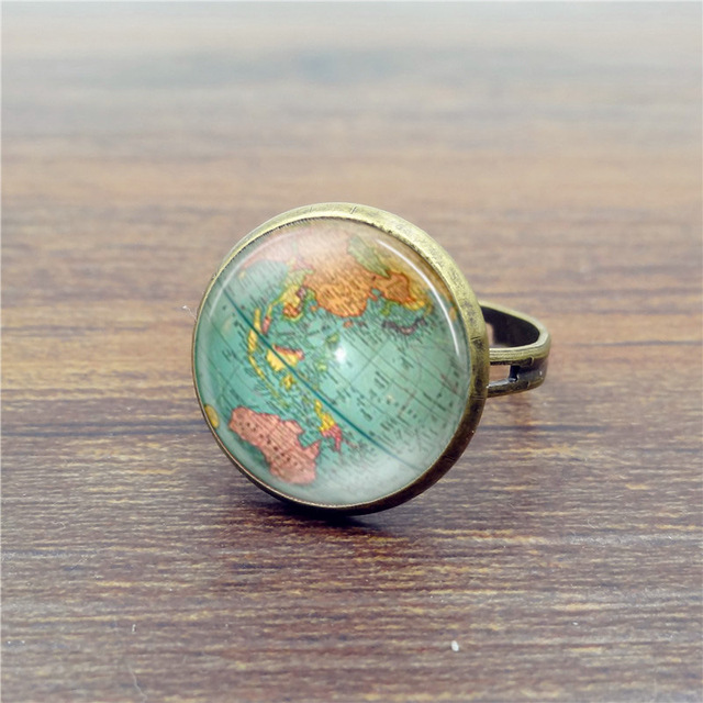 Trendy Bronze Alloy Clear Glass Colorful World Map Ring For Men Women  Fashion Personality Circle Finger