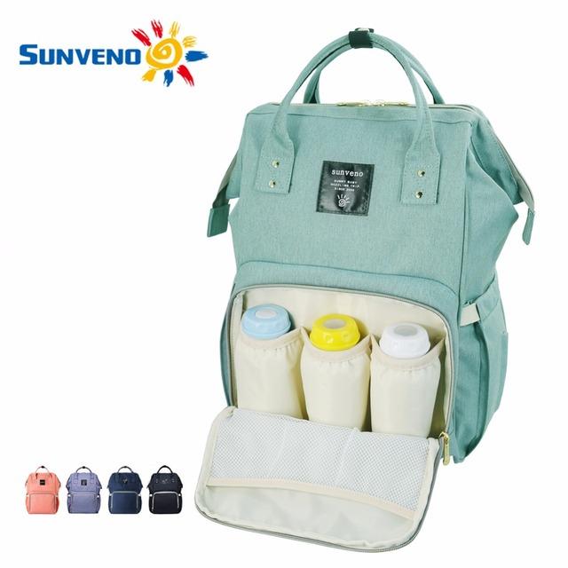 Sunveno momia del bolso del panal de maternidad de moda marca desinger bebé grande capacidad mochila bolsa de viaje bolsa de pañales del bebé del cuidado de enfermería