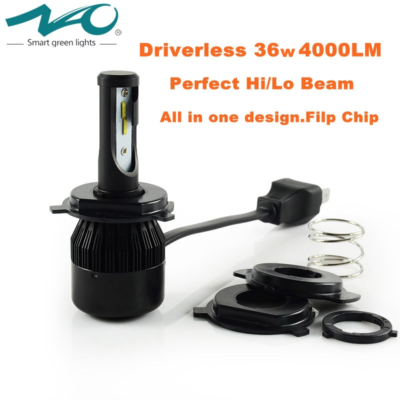 Prix pour Moto led phare H4 36 W 4000LM Flip chip Tête lampe Blanc 6500 k led H4 led ampoule Moto Tête feux h4