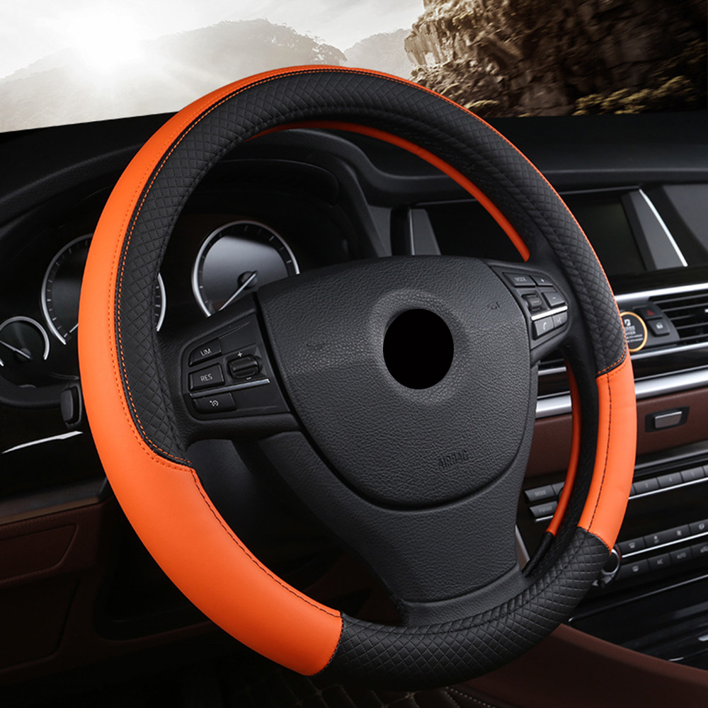 Image 5 - Car Steering Wheel Cover Fit For Most Cars Styling 38cm  Hand stitched PU leather Car steering wheel-in Steering Covers from Automobiles & Motorcycles