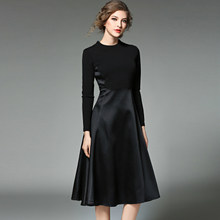Dança & gratify 2018 nova primavera moda breve preto vestido feminino retalhos vestido femme magro vestidos de festa longo