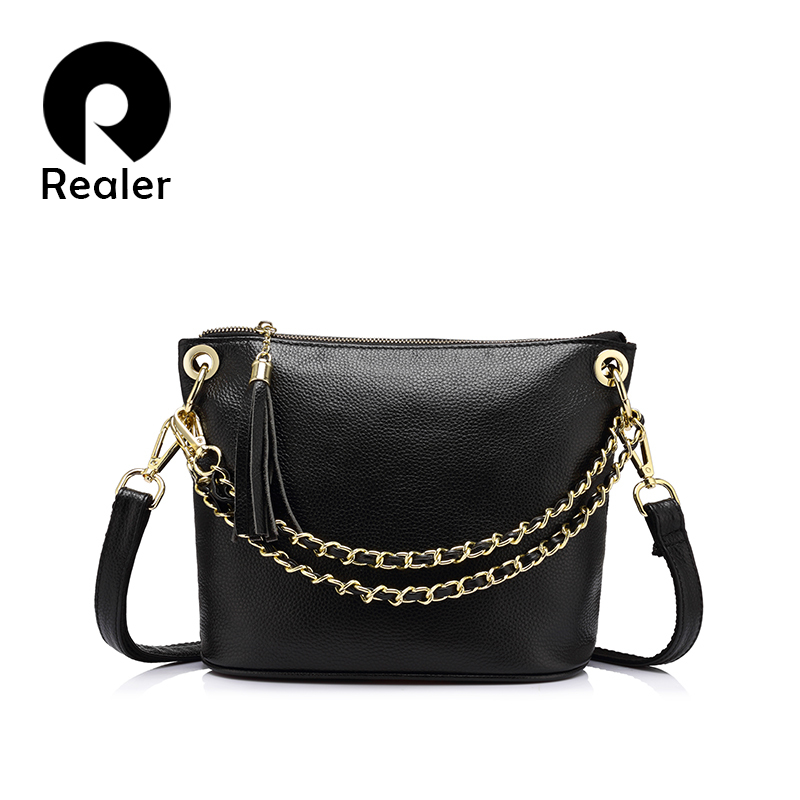 REALER marka moda kadın Hakiki Deri omuz çanta çanta kadın ünlü markalar messenger çanta 2017 Siyah/Kırmızı/Mor/gri