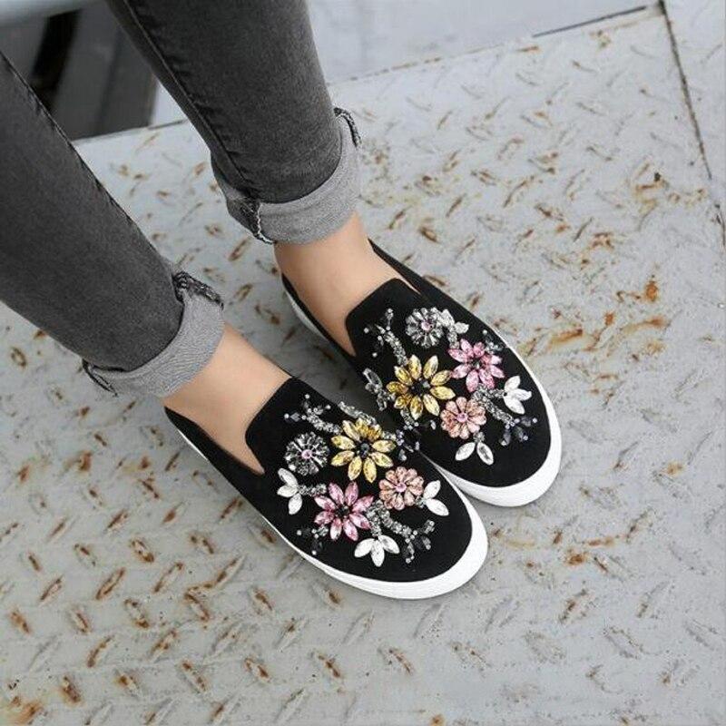 Zapatos de mujer de primavera de Cristal Tachonado Rhinestone holgazanes Planos