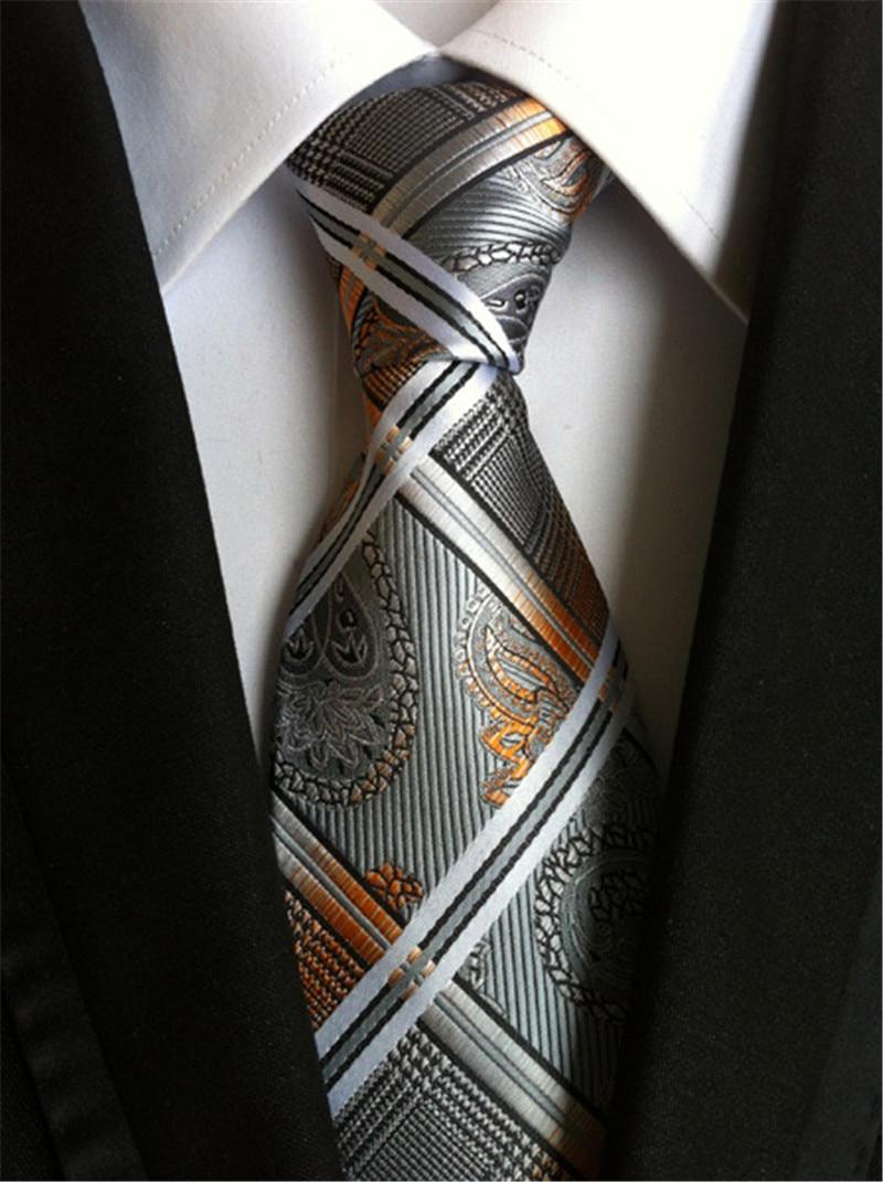 SCST Brand New Corbatas Paisley Print Gravata 8cm Slim Necktie Mens Wedding Neckties Silk Ties For Men Tie Gold Cravate A026
