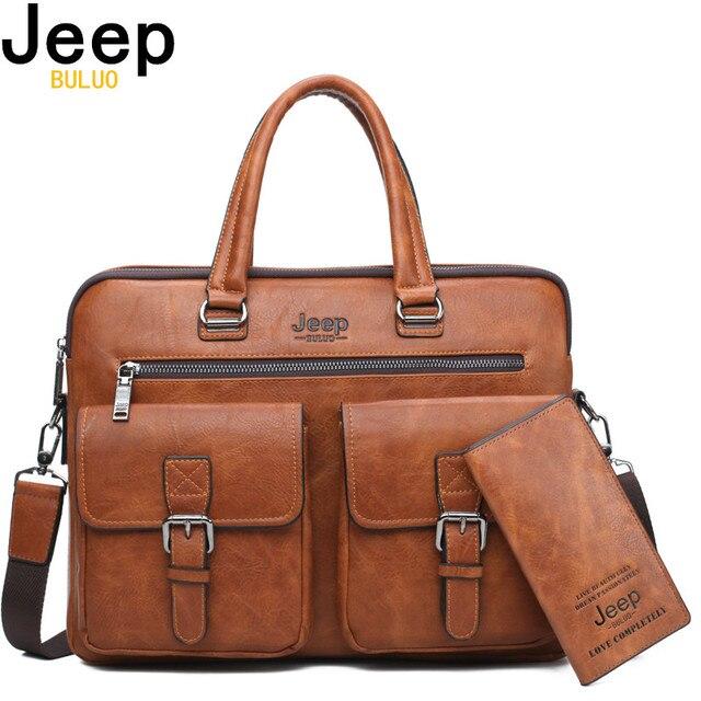 JEEP BULUO Famous Brand 2pcs Set Mens Briefcase Bags Hanbags For Men Business Fashion Messenger Bag 13.3 Laptop Bag 8001/8888