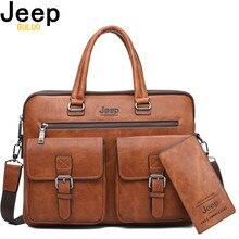 JEEP BULUO Famous Brand 2pcs Set Men's Briefcase Bags Hanbag