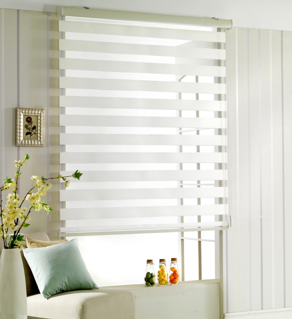 Us 25 0 Window Curtain Zebra Roller Blinds For Kitchen Living Room Office Roller Cortina With High Qualty Off White In Blinds Shades Shutters
