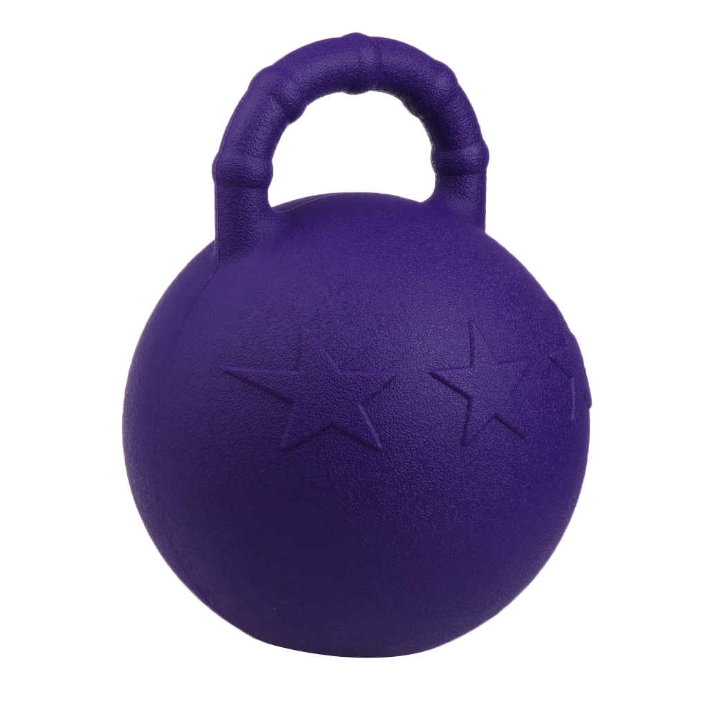 MagiDeal Purple Horse Pony Bounce Jolly Game Ball Stable Field Toy Anti-Burst Dog Soccer Balls With Handle