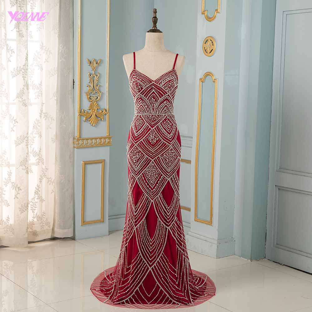 Red Spaghetti Crystals Beaded   Evening     Dresses   Long Mermaid Backless   Evening   Gowns Robe De Soiree YQLNNE