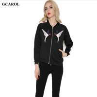 Women New Euro Embroidery Birds Jacket Space Cotton Black Coat Fashion Casual Bomber Jacket Outwear For