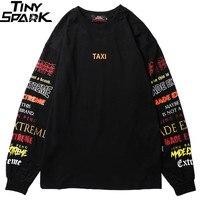 Men Long Sleeve T Shirt Harajuku Streetwear Retro Colorful Letter Print Tshirt Hip Hop 2019 Summer Tops Tee Black T Shirt Cotton