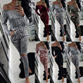 2017 Clube Casual Rompers Jumpsuit Womens Manga Comprida Sexy Clubwear Bandage Bodycon Macacões Mulheres Fora do Ombro Macacão