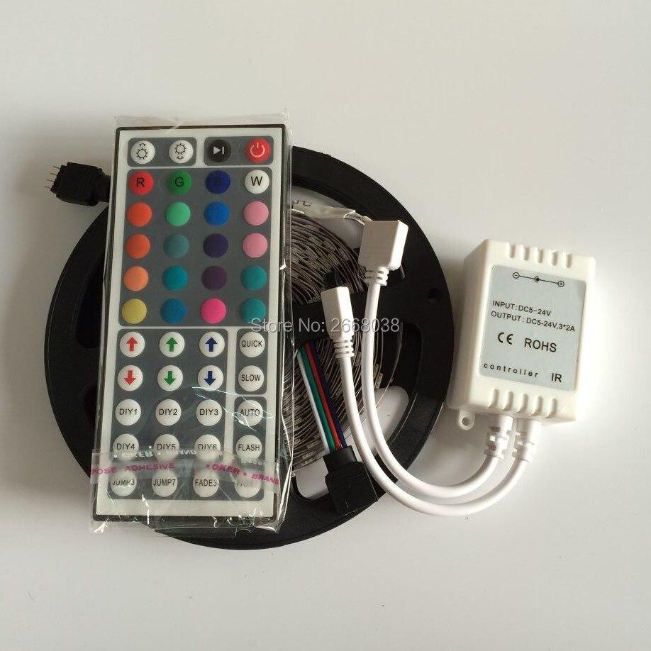 SMD5050 RGB LED Strip Light 12V 5M 150Leds Diode Tape LED Ribbon Flexible Lights+44keys remote controller Indoor Home Decoration