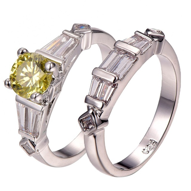 Yellow Crystal Zircon 925 Sterling Silver Best Quality Engagement Wedding Ring Size 6 7 8 9