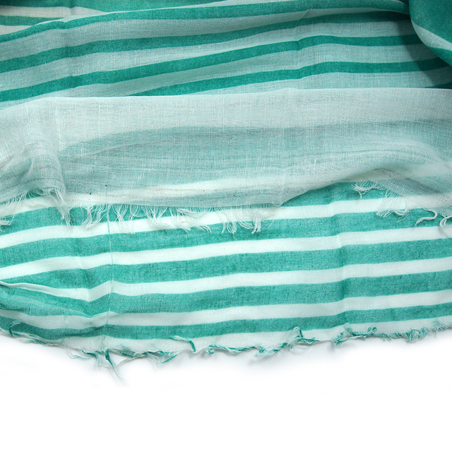 Summer Green Striped Scarves   Lightweight Scarves