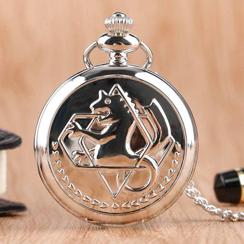 Cool Silver Smooth Alchemist Theme Quartz Pocket Fob Watches With Necklace Chain For Boys Children