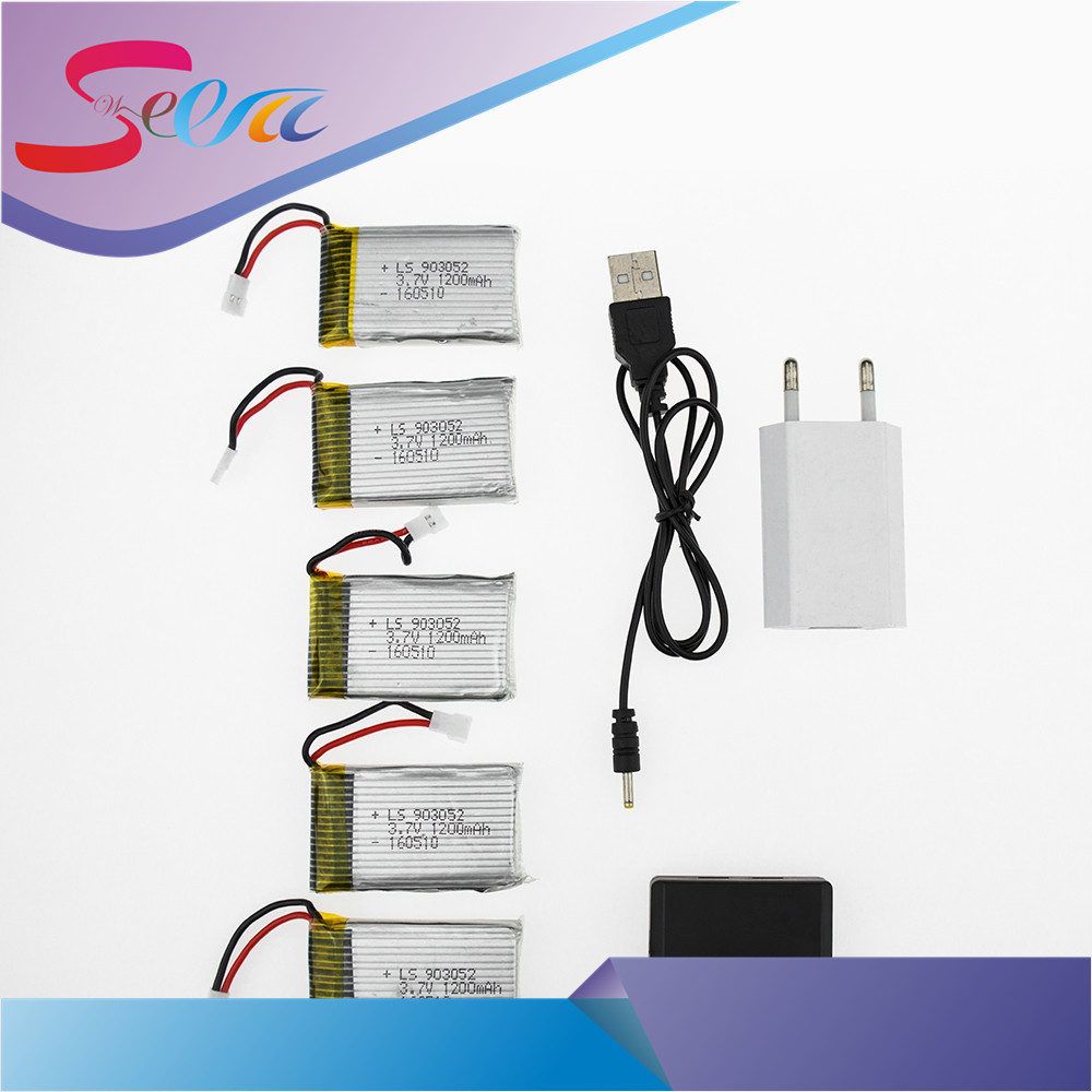 5pcs Xpower Lipo Battery 3.7v 1200Mah With 5in1 USB Fast Charger Box Plug Set For Syma X5SW X5SC M18 H5P Drone RC Quadcopter 4pcs 500mah lipo 4 in 1 usb charger set for syma x5hc x5hw quadcopter remote control drone model spare part replacement set