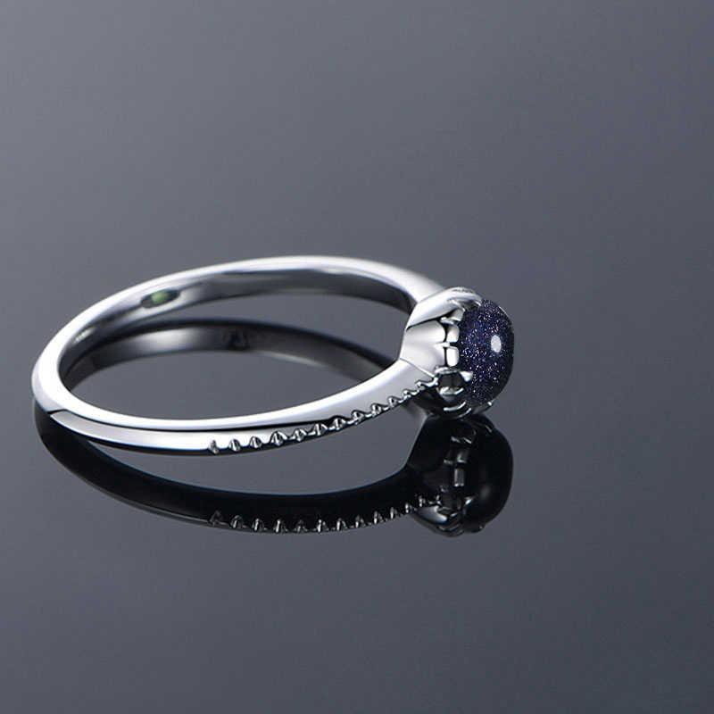 Новое 925 пробы Серебряное Винтажное кольцо с круглым натуральным камнем и голубым песком для женщин, ювелирные украшения, подарки на годовщину, оптовая продажа