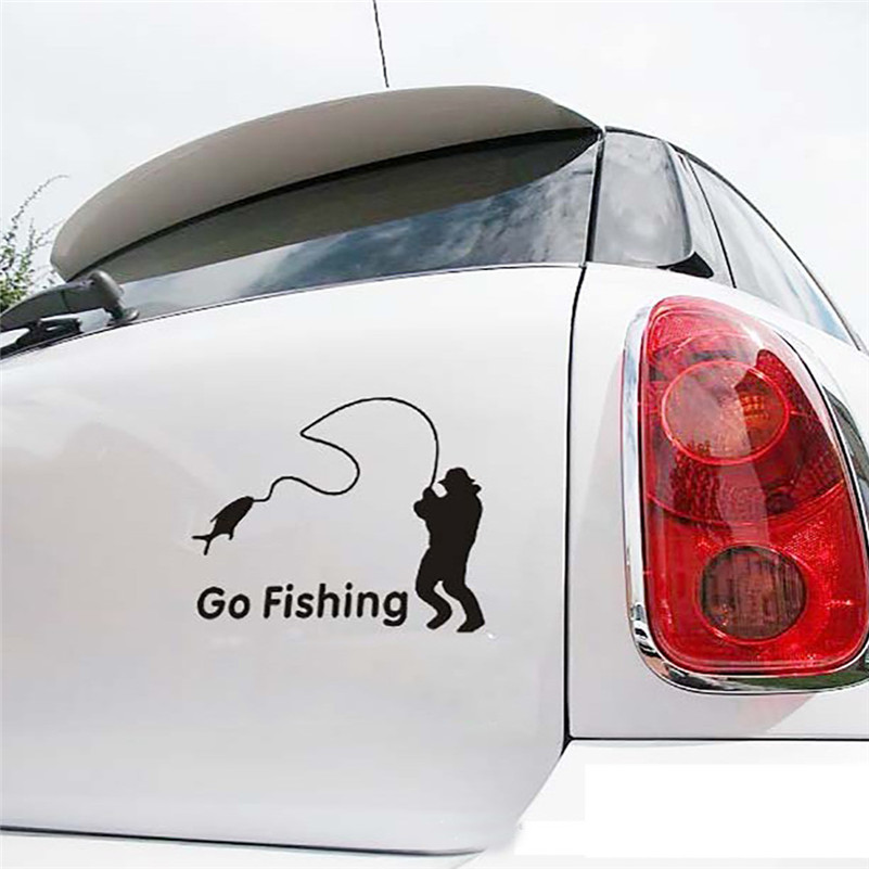 2019 New Car Stickers With Fishing Enthusiast Popular Go Fishing Vinyl Car Graphics Window Vehicle Sticker Decal Decor Auto #F