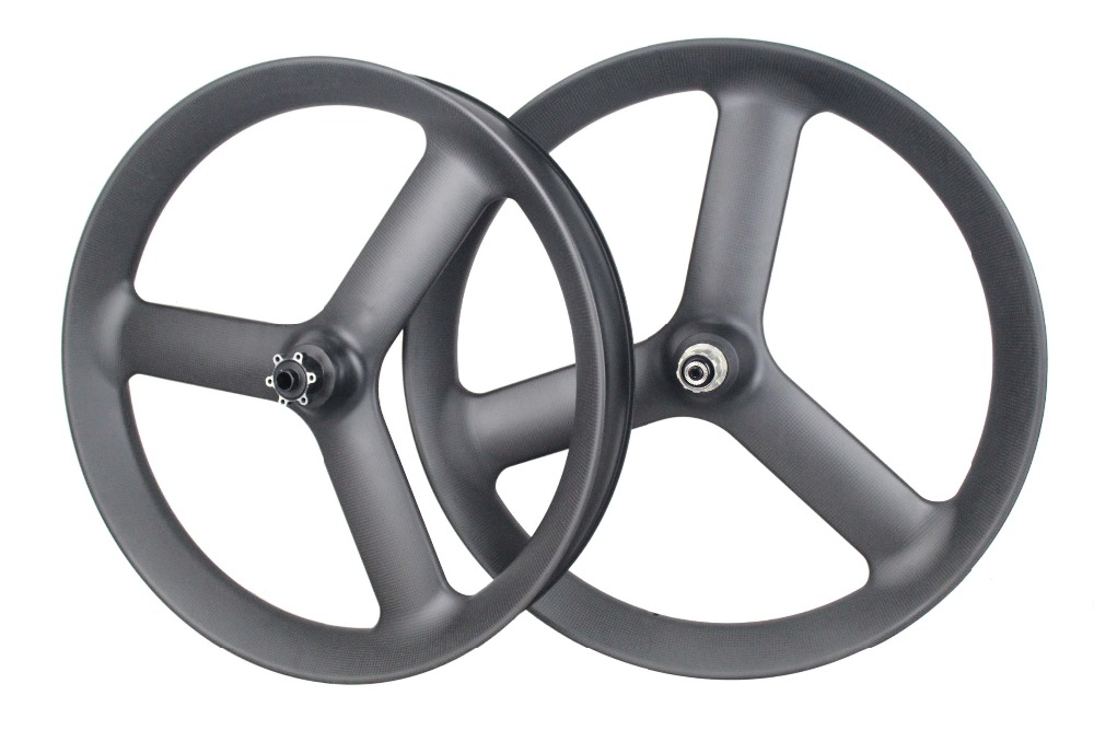 2018 MIRACLE Tri 3-Spok gros vélo carbone roues 90mm Tubuless QR ou essieu 26er Fatbike carbone roues 3 K ou UD mat