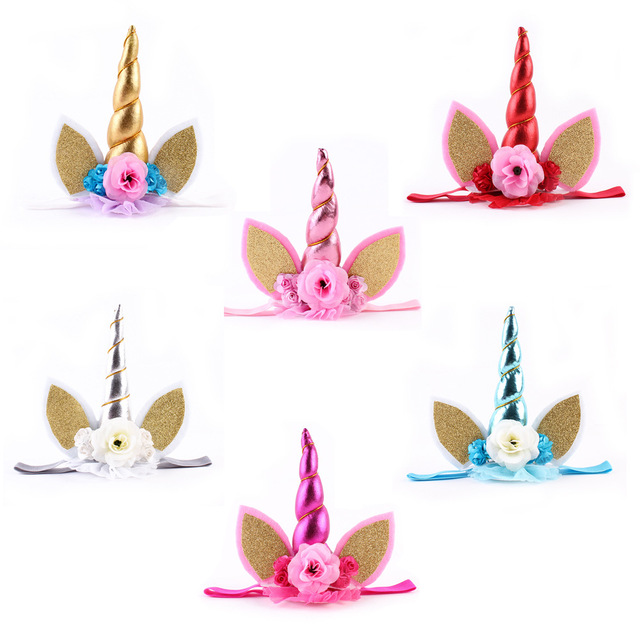 Girl Gold Glitter Unicorn Horn with Fabric Flower Headband Lace Flower Crown  Animal Party Hair Accessories 12pcs lot 5f7d8015536