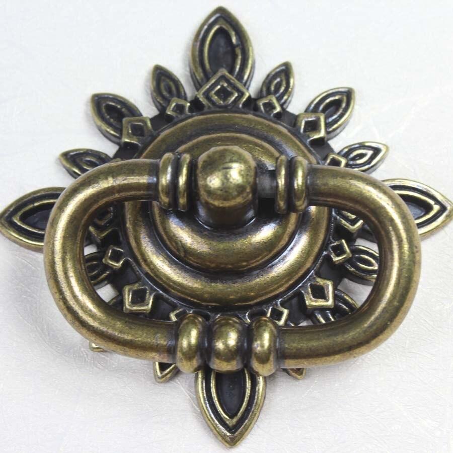 68mm Vintage shaky drop rings furniture knobs bronze drawer cabinet pull knob antique brass dresser cupboard door handles knobs