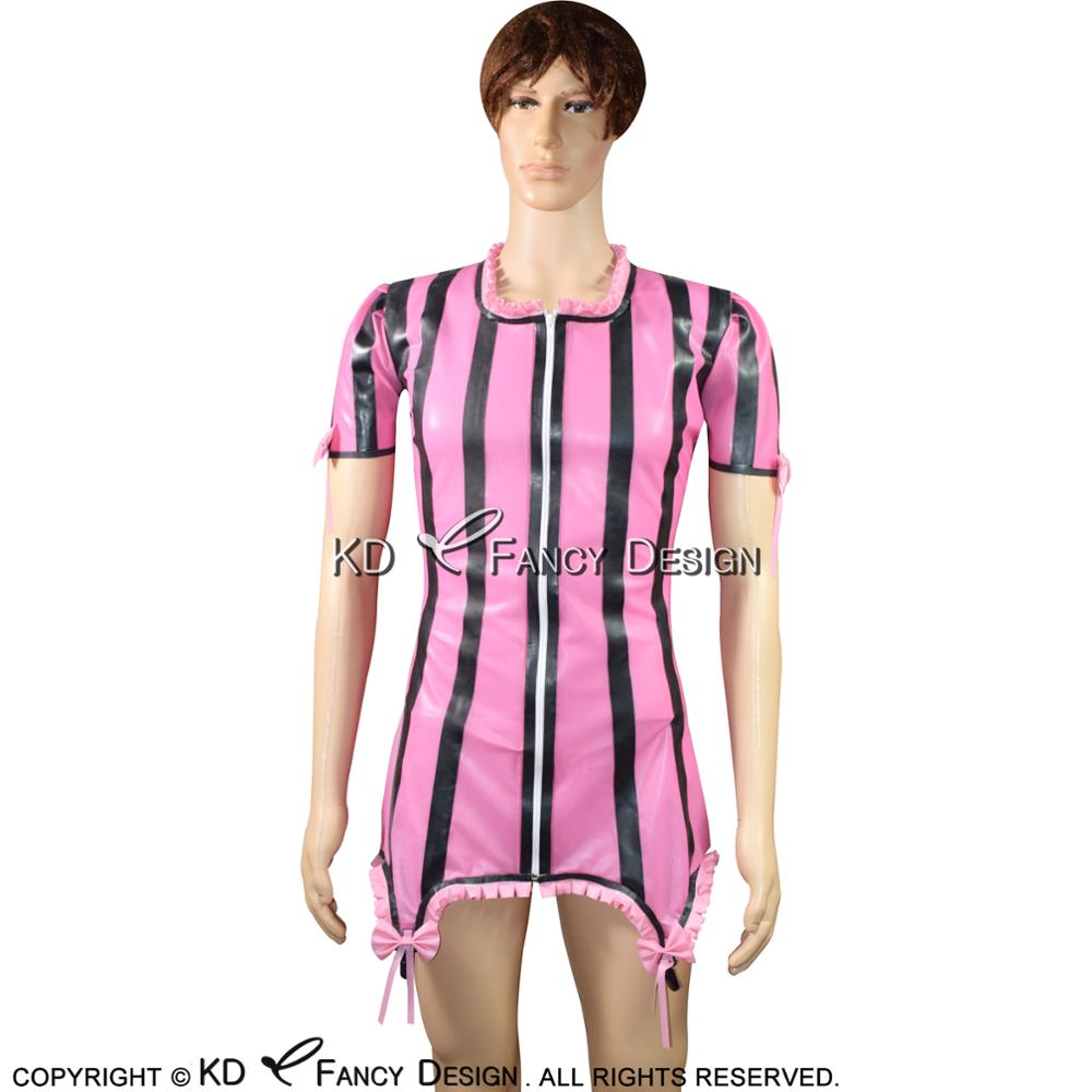 Pink With Black Sexy Latex Blouse With Frills And Bows Zip At Front Puff Short Sleeves R ...