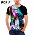FORUDESIGNS Funny Harley Quinn Prints Men Summer Tops T Shirt Cartoon Clothes Tops For Boys Breathable Ripndip Male Tee Summer