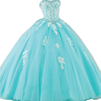 2019 Sweet 16 Dress New Princess Quinceanera Dress Formal Prom Party Pageant Ball Dresses Bridal Gown With Lace Applique