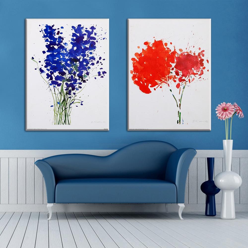 Fuego dos enmarcado pintura abstracta flores lo traslada la ...