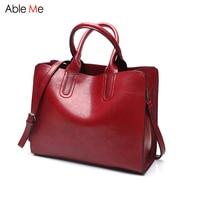New 2017 Simple Style Oil Wax Leather Women Handbag Fashion Lady Shoulder Bag High Quality Messenger