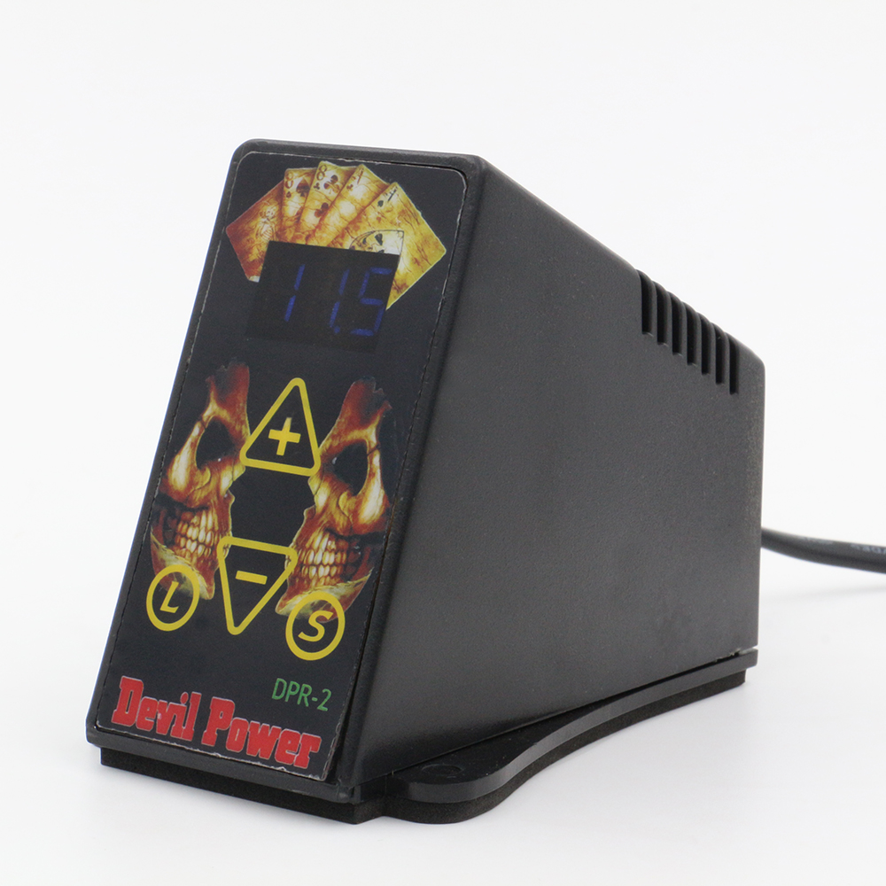Skull Design Power Supply Black Mini Tattoo Power Supply Supply For Tattoo Machine On wholesale Price Free Shipping black red yellow blue skull design stainless steel tattoo foot pedal switch footswitch power supply