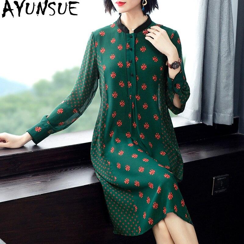 2019 nouveau printemps été 100% robe en soie femmes mode vert Floral chemise robe élégante bohème décontracté Vestidos Mujer KJ2086
