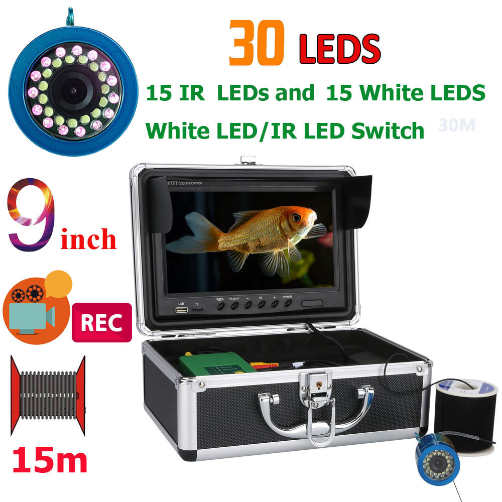 """9"""" Inch DVR Recorder 15M 1000TVL Fish Finder Underwater Fishing Camera 15pcs White Leds + 15pcs Infrared Lamp For Ice/Sea/River"""