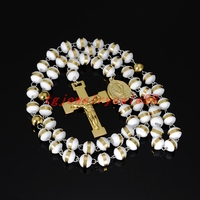 Charm White Round Silicone Beads Rosary Fashion Gold Color Stainless Steel Jesus Cross Pendant Necklace For
