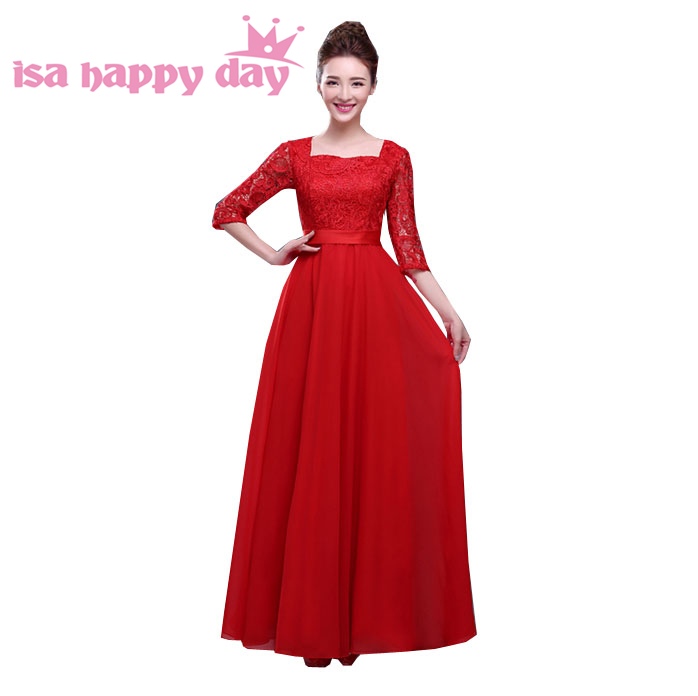 US $50.73 5% OFF|modest formal plus size long gowns the bride lace evening  dresses with sleeves women red dress sleeve for ladies H2727-in Evening ...