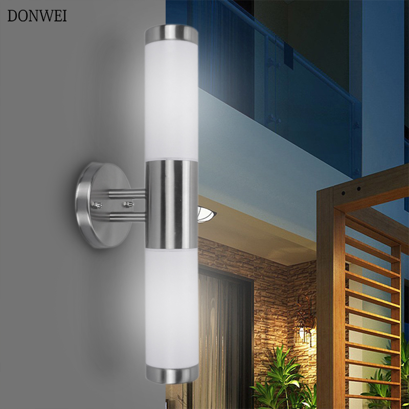 Us 18 58 30 Off Donwei Waterproof Outdoor Lighting Stainless Steel E27 Up Down Dual Head Led Wall Light Ip65 Lamp Porch Lights Ac 220v In