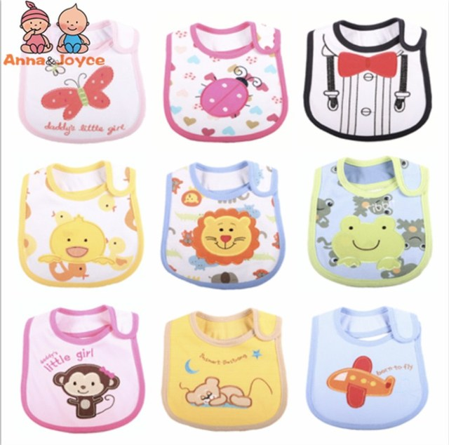 6Pc/lot f Baby Bibs Pattern Toddler Baby Waterproof Saliva Towel Cotton Fit 0-3 Years Infant Burp Cloths Feeding