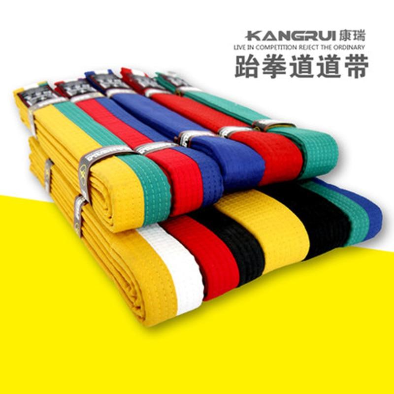 2016 новые хлопковые ремни для тхэквондо, каратэ для единоборства, ремень для дзюдо, Размер 000-8, мужские и женские, каратэ, 10 уровней, профессио...