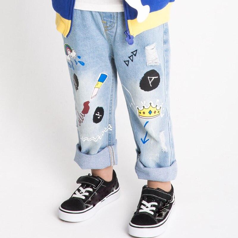 Dziecko Kinder Denim Jeans Hosen 2019 Mode Kinder Cowboy Jeans Cartoon Patten Hosen Kinder Hosen Jungen Mädchen Jeans Kleidung Angenehm Zu Schmecken Mädchen Kleidung