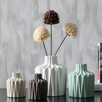New Minimalist ceramic creative origami flowers vase pot home decor crafts room wedding decorations handmade porcelain figurines