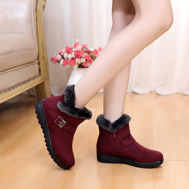 Winter Women Ankle Boots New Fashion Flock Wedge Platform Winter Warm Red Black Snow Boots Shoes For Female Plus Size 40 41