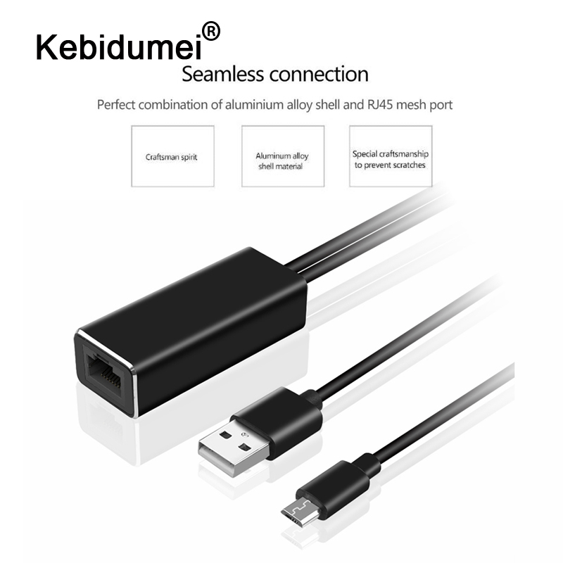 kebidumei High Quality HD 480 Mbps 5V Micro USB2 0 To RJ45 Ethernet Adapter 10 100 Mbps TV Stick For New Fire TV Ultra Audio