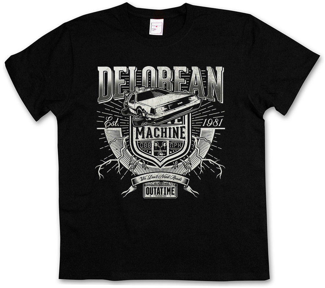 DELOREAN TIME MACHINE T-SHIRT - Fox Back To The Future Shirt Michael Car