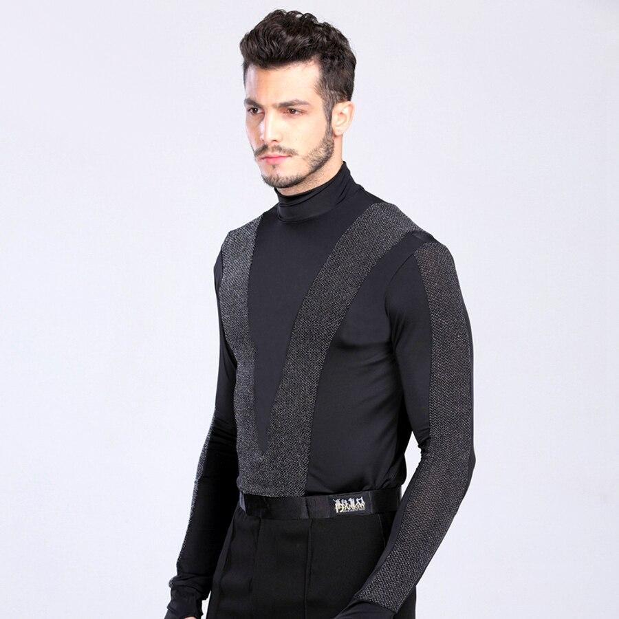 sexy New Arrival Men Dance Shirt Turtle Neck Long Sleeve Mens Latin Shirts Ballroom Dance Tops Clothing For Dance Wear DQ6027