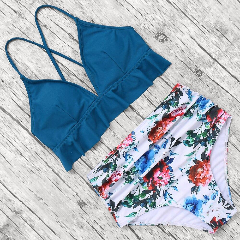 HTB1thagKCzqK1RjSZFLq6An2XXaT Print Sexy Bikini 2019 Mujer Plus Size Swimwear Women Halter High Waist Bikini Push Up Swimsuit Female Maillot De Bain Femme