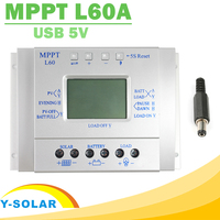 MPPT 60A Solar Charge Controller LCD Display Solar Regulator 12V 24V with Light and Timer Control Easy Settable for PV Y SOLAR