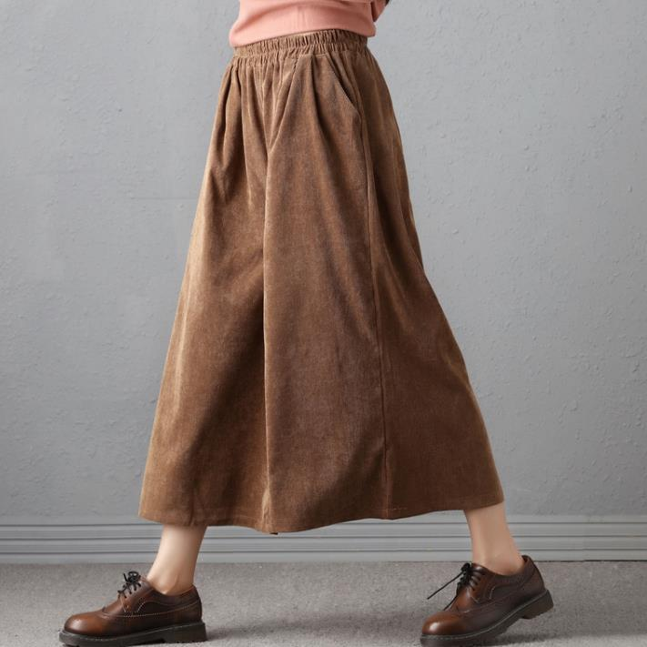 2018 spring new women's clothing art elastic waist loose large code corduroy casual   pants     wide     leg     pants   female nine   pant