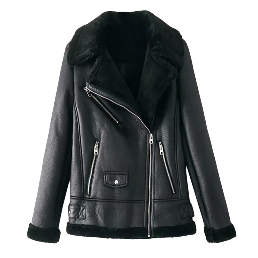 New Fashionable Women Winter Warm Long Sleeve Solid Color Zipper Jacket Overcoat Hot Sale Black Leather Fur Outwear Coat