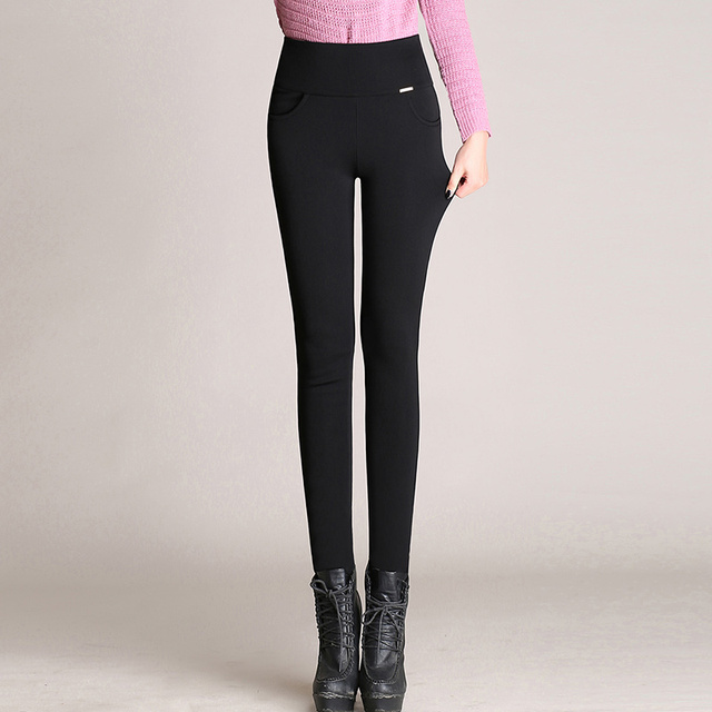 WKOUD S-4XL Lady Casual Leggings Winter Warm Velvet Thicken Leggings High Waist Pants Women Snow Hot leggings Bootcuts P8668 5